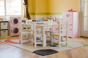 Children's playroom with play kitchen