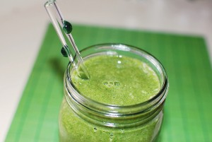 Green Smoothie with Glass Straw