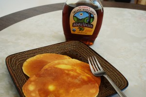 french toast pancakes with Tropical Traditions pure organic maple syrup