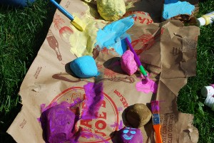 Screen-Free Week Crafts - Painting Sticks and Rocks