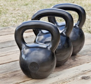 Black iron kettlebells