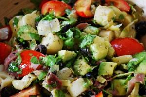 avocado, artichokes, and palm hearts salad