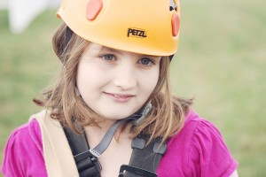 paige ziplining close up