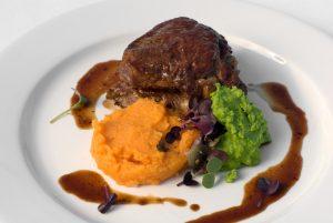 steak and mashed sweet potato