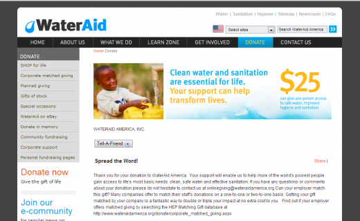 wateraid donation