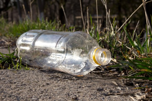 plastic bottle ruining nature