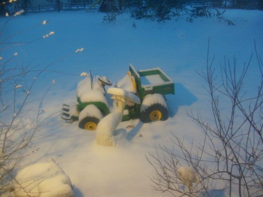 Snow on outdoor toys