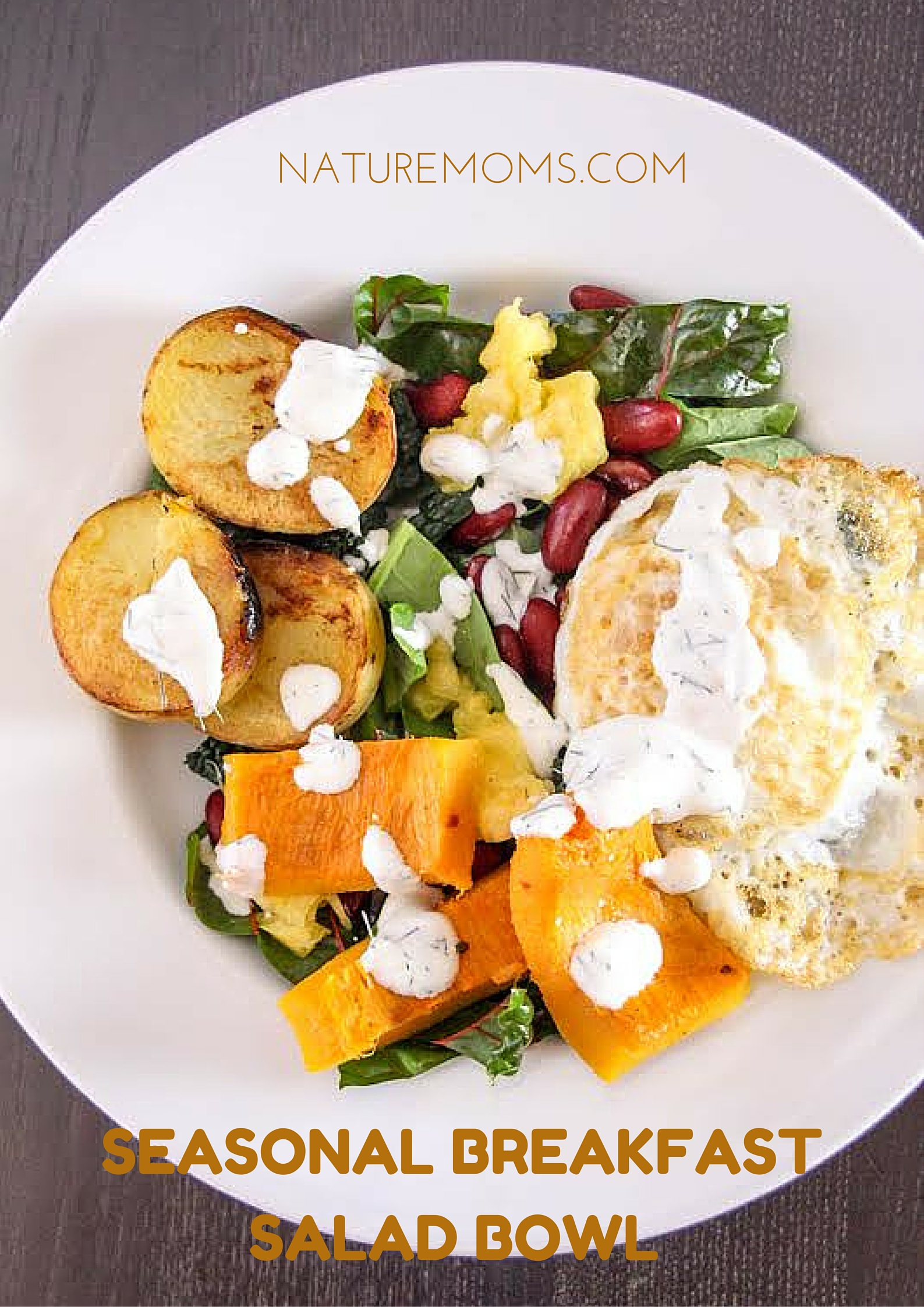 Breakfast Salad Bowl with Fennel Sour Cream Dressing vertical